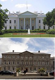 The North Portico of the White House, USA. And underneath, the Leinster House.